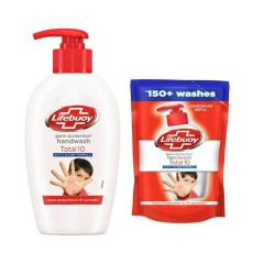 LIFEBUOY Total 10 Germ Protection Handwash 190ml + With Refill Pouch 185ml Free (Exp: 05.2022) (K8)