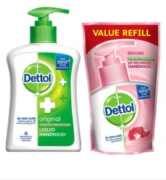 DETTOL ORIGINAL LIQUID HAND WASH PUMP 200ml + REFILL 175ml (Exp: 10.2022) (K8)