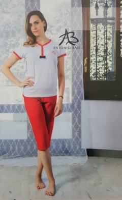 ANTONIO BASILE Ladies 2Pcs Shorty Nightwear Set (WHITE - RED) (S - M - L - XL)