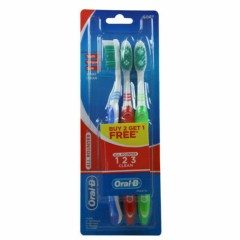 Oral-B 3 Pcs Pack All Rounder 1 2 3 Clean Soft Toothbrush (Os) (RANDOM COLOR) (K8)