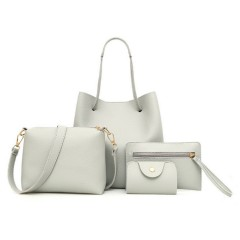 Ladies 4 Pcs Bags (GRAY) (Os)