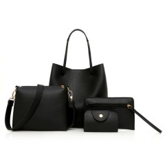 Ladies 4 Pcs Bags (BLACK) (Os)