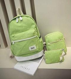 Ladies 3 Pcs Back Pack Set (GREEN) (OS)