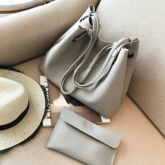 Ladies 2 Pcs Bags (GRAY) (OS)