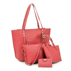 Ladies 4 Pcs Bags (RED) (Os)