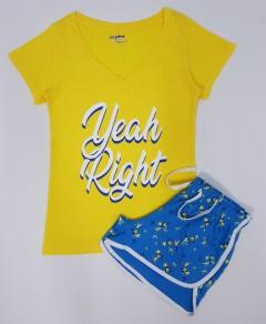 JOE BOXER Ladies 2 Pcs Shorty Set (YELLOW - BLUE) (XS - S - M - L -XL -XXL -3XL)