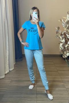 BASIC COLLECTION Ladies 2 Pcs Pyjama Set (BLUE) (XS - S - M - L)