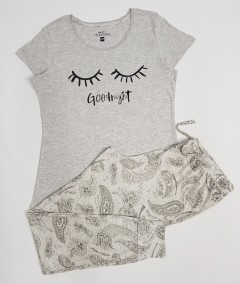 BASIC COLLECTION Ladies 2 Pcs Pyjama Set (GRAY) (XS - S - M - L)