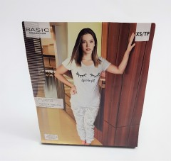 BASIC COLLECTION Ladies 2 Pcs Pyjama Set (LIGHT GRAY) (XS - S - M - L)