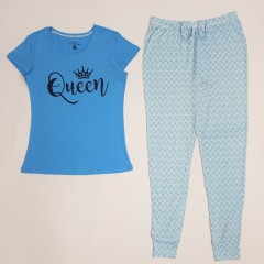 BASIC COLLECTION Ladies 2 Pcs Pyjama Set (BLUE) (XS - S - M - L)
