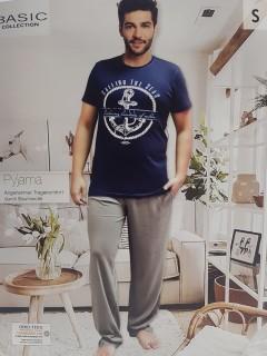 BASIC COLLECTION Mens 2 Pcs Pyjama Set (NAVY - DARK GRAY) (S -M - L - XL)