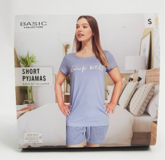 BASIC COLLECTION Ladies 2 Pcs Shorty Set (BLUE) (S - M - L - XL)