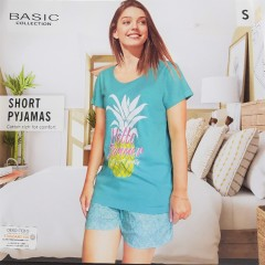 BASIC COLLECTION Ladies 2 Pcs Shorty Set (LIGHT GREEN) (S - M - L - XL)