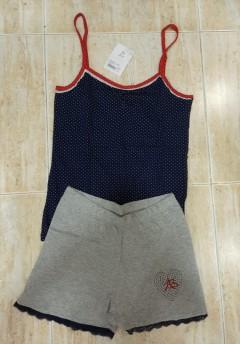 ANTONIO BASILE Ladies 2Pcs Shorty Nightwear Set (GRAY - NAVY) (S - M - L - XL)