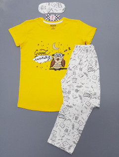 CALIMERA Ladies Turkey 3 Pcs Pyjama Set (YELLOW- WHITE) (S - M - L - XL)