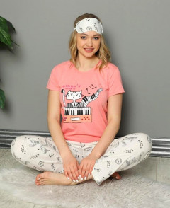 CALIMERA Ladies Turkey 3Pcs Pyjama Set (PINK - WHITE) (S - M - L - XL)