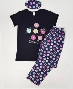 CUTECAT Ladies Turkey 3 Pcs Pyjama Set (BLACK - NAVY) (S - M - L - XL)