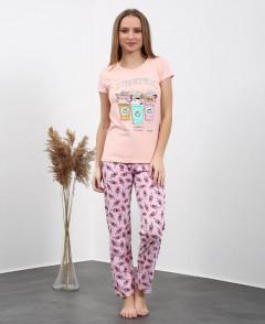 Ladies Turkey 3 Pcs Pyjama Set (LIGHT PINK - PURPLE) (S - M - L - XL)
